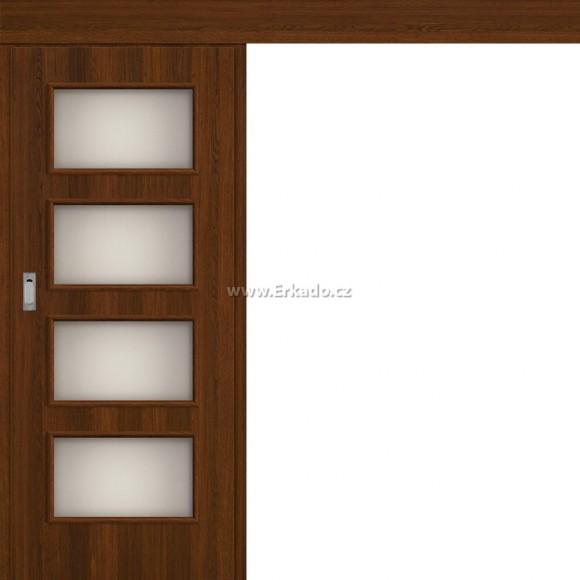 Posuvné dveře na stěnu MANHATTAN 4/4 SV AKÁCIE FIN 70 L MKS PL
